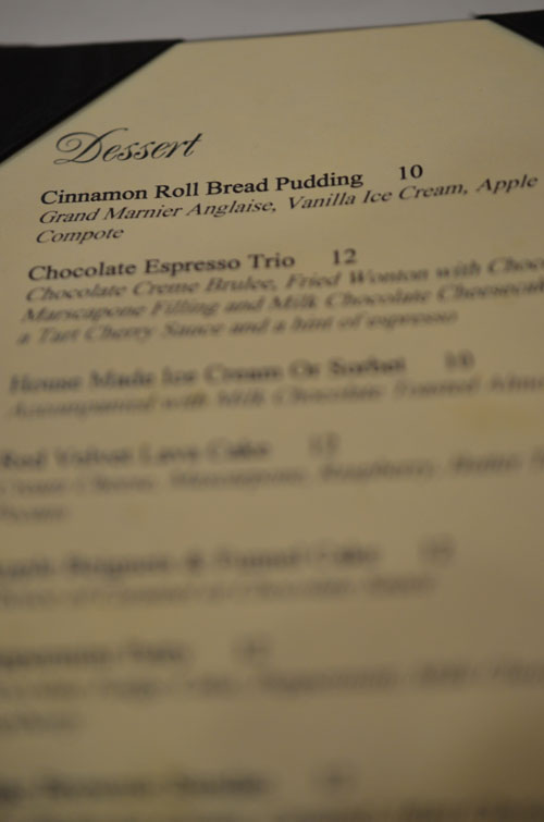 dessert menu, photo by Glen Green