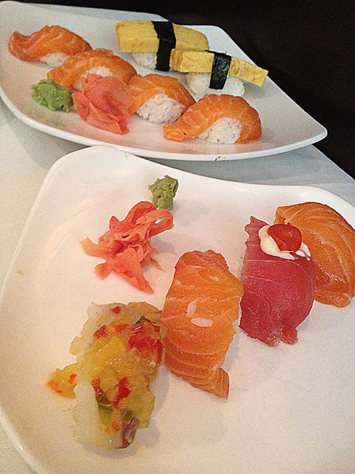 salmon, tuna, white fish sushi