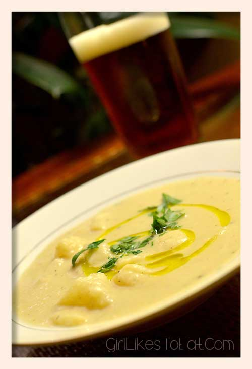 white ale potato leek soup and a stella atrois