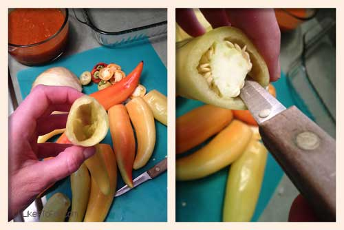 removing seeds from the banana peppers